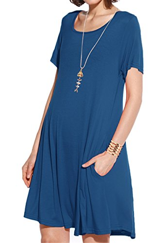 (JollieLovin Women's Pockets Casual Swing Loose T-Shirt Dress (Steel Blue, S))