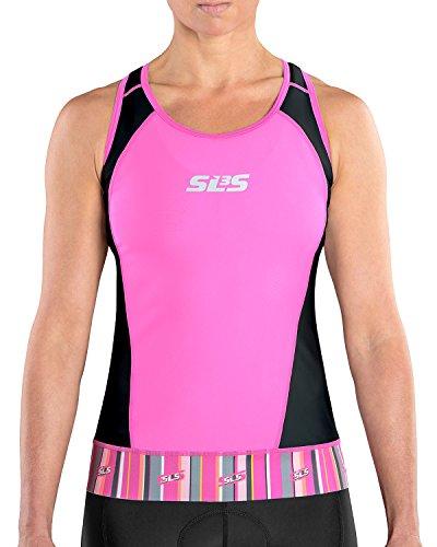 SLS3 Womens Triathlon Top FX | Back Pocket | Anti-friction Seams | Gripper Hem | Tight Fit | German Designed 2018 (Black/Rose Violet, M) Triathlon Gear Clothing