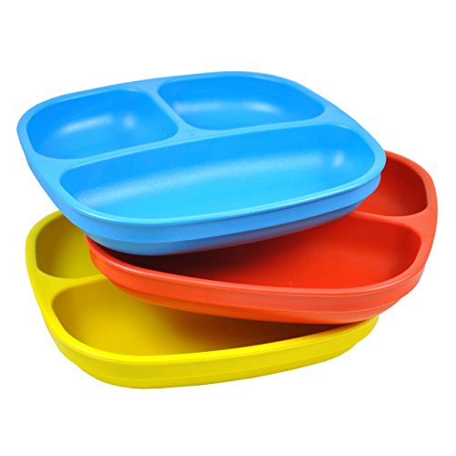 Re-Play 3pk Divided Plates with Deep Sides for easy Baby, Toddler, Child Feeding (Recycled Milk)