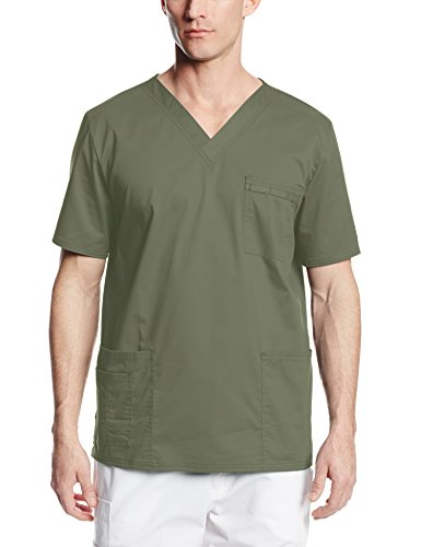 Cherokee Premium Core Stretch Unisex V-Neck Scrubs Shirt, Olive, X-Large