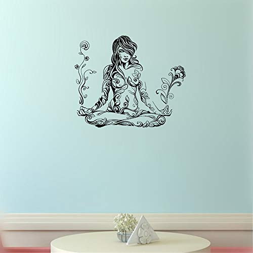 Othyuo Wall Decal Sticker Art Mural Home Decor Quote Meditation Woman Girl of Flower and Leaf Pattern