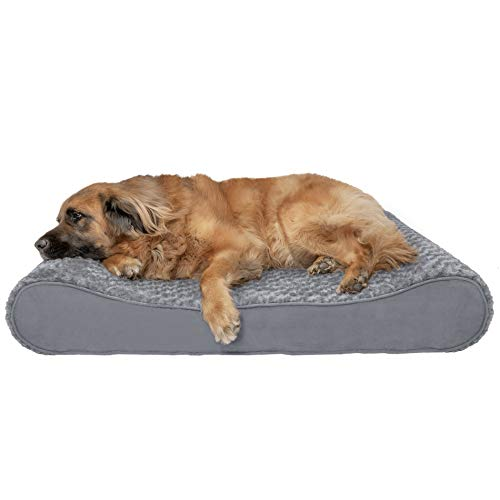(FurHaven Pet Dog Bed | Orthopedic Ultra Plush Luxe Lounger Pet Bed for Dogs & Cats, Gray, Jumbo Plus)
