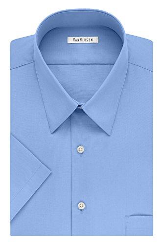 (Van Heusen Men's Fit Short Sleeve Dress Shirts Poplin Solid (Big and Tall), Cameo Blue, 18.5