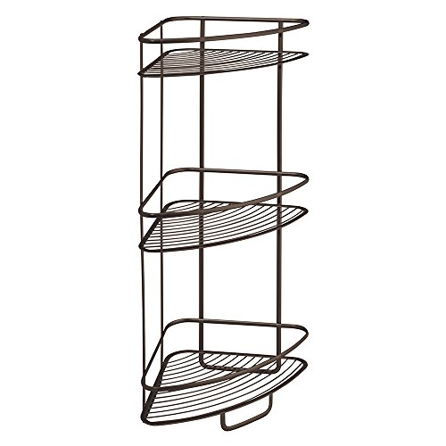 (InterDesign Axis Free Standing Bathroom or Shower Corner Storage Shelves for Towels, Soap, Shampoo, Lotion, Accessories - 3 Tier, Bronze)