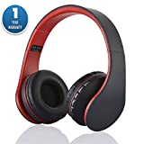 ACID EYE Bluetooth Headphones Over-ear Stereo Wireless + Wired Headsets with Microphone for Music Streaming,Hands-free Calling For iPhone,Nokia,HTC,Samsung,LG,Moto,iPad,PSP and enabled Bluetooth(Red)