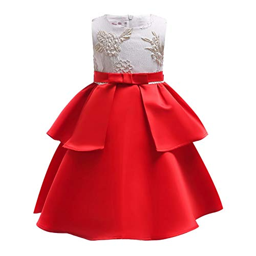 Embroidered Strapless Gown - AYOMIS Girl Dress Princess Gowns Party Flower Christmas Wedding Dresses(Red-2059,4-5Y)