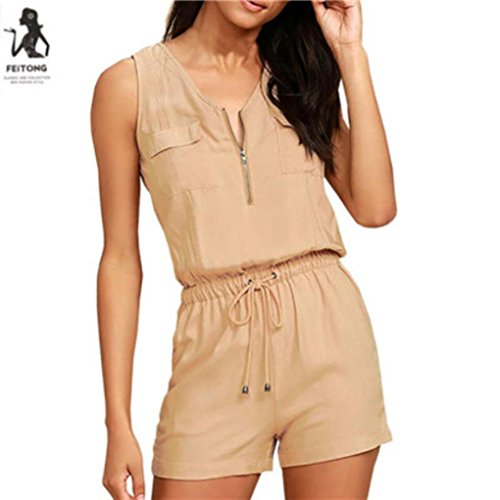 Hattfart Fashion Women Sexy Jumpsuit Zipper Sleeveless Pants Bodysuit Top (Khaki, M) (Khaki Womens : Clothing Accessories)