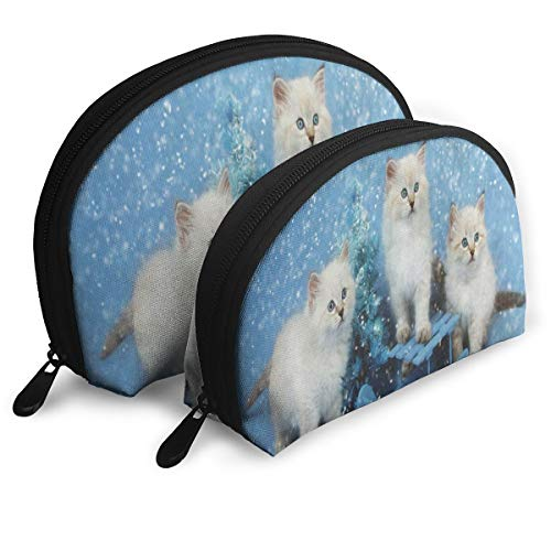 Makeup Bag Christmas Tree Black Kitten Cat Portable Shell Cosmetic Bags For Mother Easter Gift Pack - -