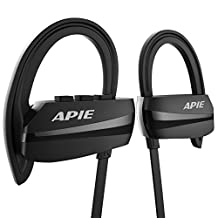 APIE Bluetooth Headphones,Wireless Headphones Bluetooth 4.1 with Mic Sport Stereo Headset,IPX7 Waterproof,Premium Sound with Bass, Noise Cancelling, (Secure Ear Hooks Design, 8 Hours Play Time)