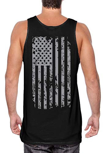 HAASE UNLIMITED Silver American Flag - USA Patriotic Freedom Men's Tank Top (Black - Back Print, X-Large)