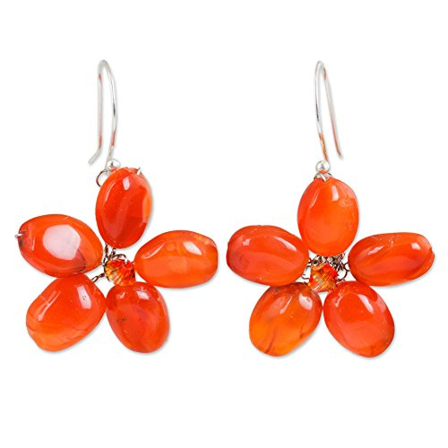 - NOVICA Carnelian .925 Sterling Silver Beaded Earrings 'Mystic Daisy'
