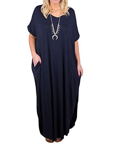 2b0ca60a544 Rotita Womens Plus Size Short Sleeve V Neck Dress Casual Pregnant Loose  Maxi Dresses (3X