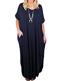 Womens Plus Size Short Sleeve V Neck Dress Casual...