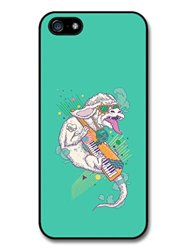 White Dragon Playing Electro Keyboard 80s Throwback Radical on Turquoise case for iPhone 5 5S