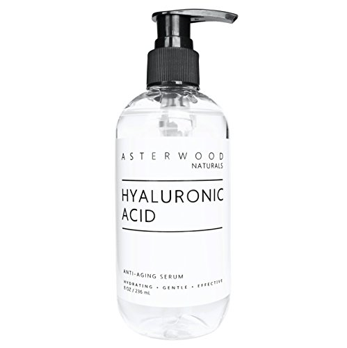 Hyaluronic Acid Serum 8 oz - 100% Pure Organic HA - Anti Aging, Anti Wrinkle - Original Face Moisturizer for Dry Skin & Fine Lines - Leaves Skin Full & Plump - ASTERWOOD NATURALS - Pump Bottle
