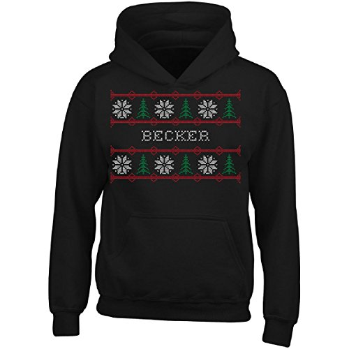 Becker Boys Sweatshirt - Flippin Sweet Gear Becker Name Ugly Christmas Sweater - Adult Hoodie XL Black