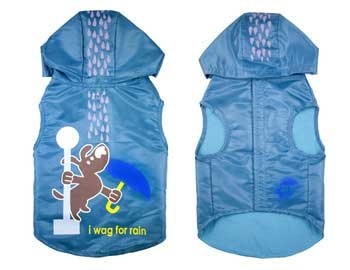 Wagging In The Rain Dog Raincoat Color: Blue, Size: XX-Small by Waghearted (Image #1)