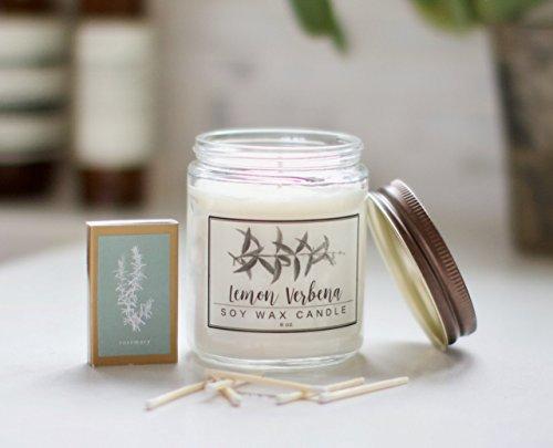 Lemon Verbena Essential Oil Candle - 8oz Soy wax aromatherapy candle (Aromatherapy Verbena)