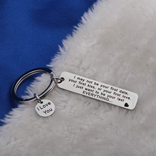FEELMEM I May Not Be Your First Date Keychain Couples Love Lettering Keyring Valentines Day Birthday for Him or Her (Silver) by FEELMEM (Image #2)