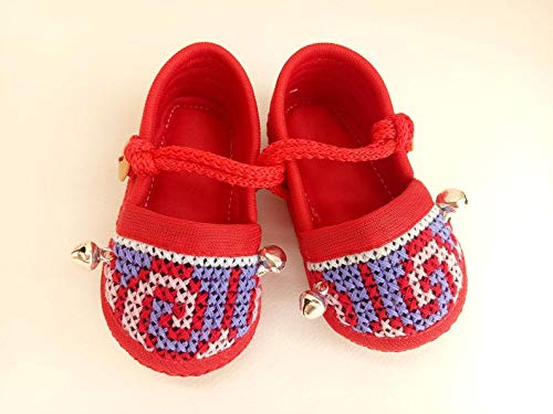 New Born Red Baby Shoes Jingles