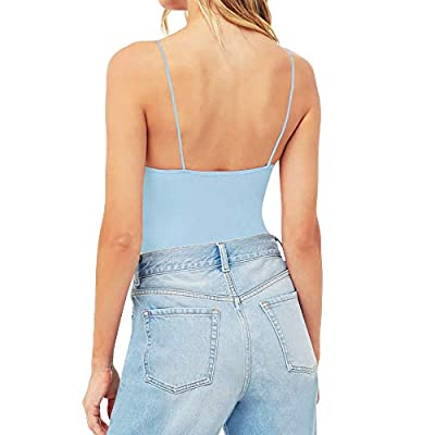 MANGOPOP Women's Bodycon Camisole Adjustable Spaghetti Strap Bodysuits Tops: Clothing