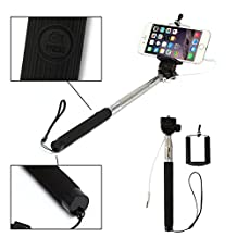 Geekercity Selfie Stick Telescopic Handheld Self-Portrait Extendable Monopod Selfie Sticks with Adjustable Phone Mount Holder 3.5MM Headphone Jack Wired Remote Control Universal Portable Retractable Monopod Pole Battery Free No Battery No Bluetooth Earphone Cable Wired Remote Control Built-in Shutter Button for iPhone 6 6 Plus 6+ 5S 5C 5 4S 4 / Samsung Galaxy S6 S6 Edge S5 S4 S3 Note 4 Note 3 Note2, LG, Lenovo, Sony, Huawei, Google Nexus and Other Android 4.2.2+ IOS 5.0.1+ Smartphones (Black)