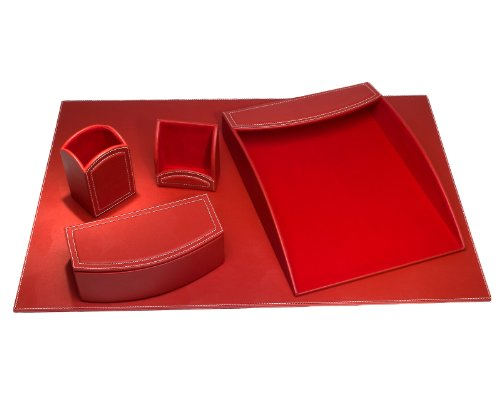 Dacasso 5-Piece Faux Leather Desk Set, Rossa Red