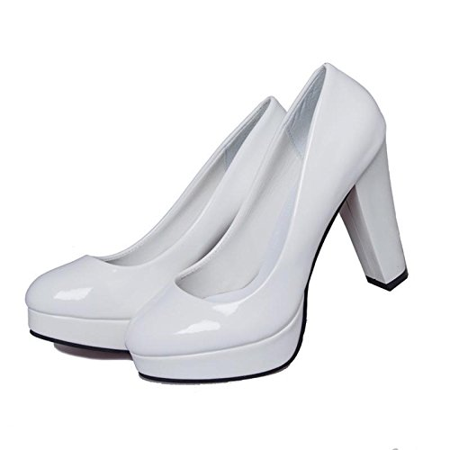 Heels Waterproof Leather (Tanpell Women's Round Toe Waterproof Platform Patent Leather High Heels Shoes White8.5)
