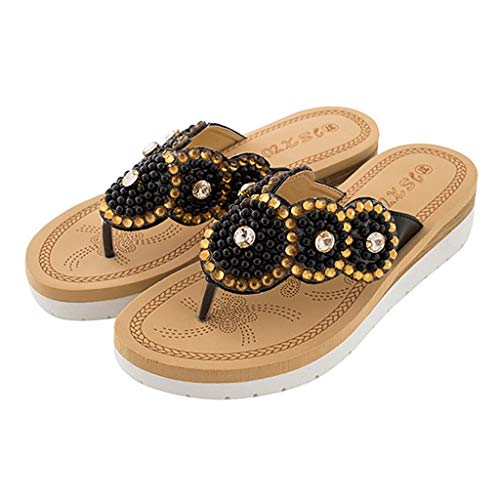 (♡QueenBB♡ Women's Bohemia Beach Summer Flat Sandals T-Strap Rhinestone Dress Thong Flip Flops Comfortable Casual Shoes)