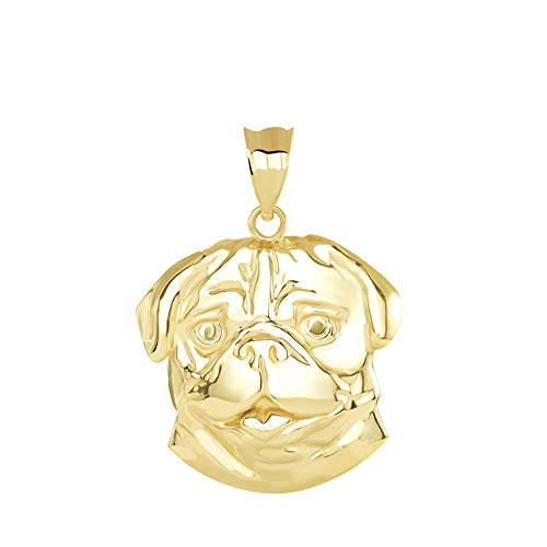 Fine 14k Yellow Gold Lovely Animal Pug Dog Head Charm Pendant