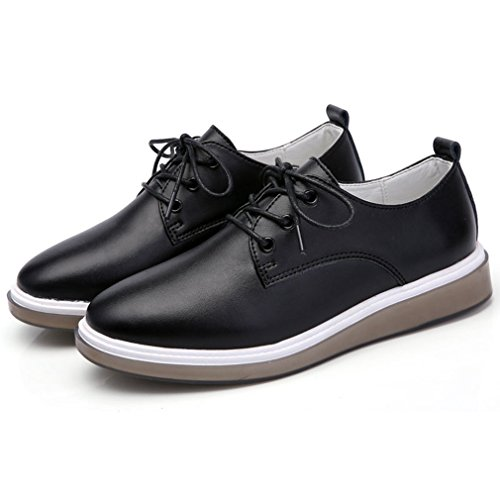 Vintage Shoes Womens Round Style Hoxekle Oxford Black Oxford Perforated Flat British Toes Shoes Wingtip vgFxf7qwx