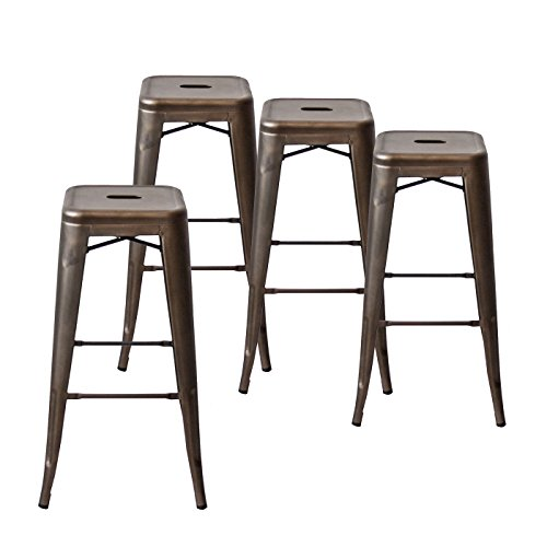 Bronze Bar Wood Finish Stool (Buschman Set of Four Bronze 30 Inches Counter Height Tolix-Style Metal Bar Stools, Indoor/Outdoor, Stackable)
