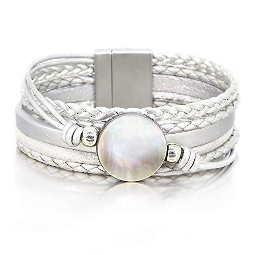 Silver Shell Bracelet Ocean Bead Bracelet Bohemian Wrap Bracelet Leather Cuff Bracelet Cross Braided Bracelet Boho Jewelry for Women Teen Girls