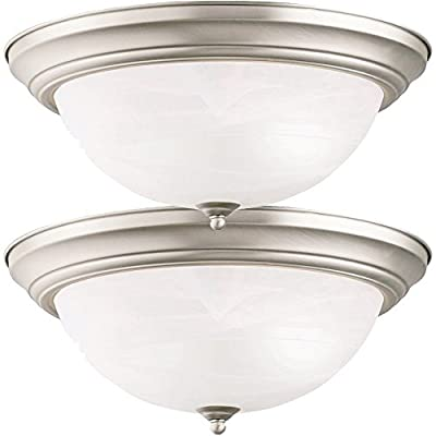 Two-Pack of Kichler Brushed Nickel 15.25 Flushmount Close to Ceiling 3-light fixturEƒ