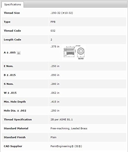 Pem Press-in Threaded Inserts PPB-032-2 Unified Thru- Threaded