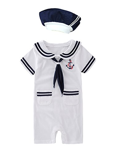XM Nyan May's Baby Toddler Boys Sailor Stripe Romper Marine Navy Romper Onesie Outfit (3-6 Months, White B)