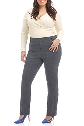 Rekucci Curvy Woman Ease In To Comfort Straight Leg Plus Size Pant w/Tummy Control (20WSHORT,Charcoal) (Straight Control)