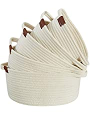 DECOMOMO Cotton Rope Baskets Woven Foldable Storage Bin with Handles | Great for Nursery/Toys/Stationary/Makeup/Kitchen (White, Various Size - 5 Pack)