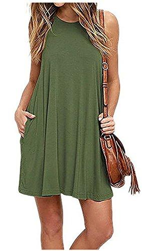 Vestidos Mujer YOGLY Vestidos de Mujer, Vestido de camiseta, sin Manga Traje de Baño Para Mujer Verano Moda Vestido de Playa, Colores Lisos, Talla Grande Verde