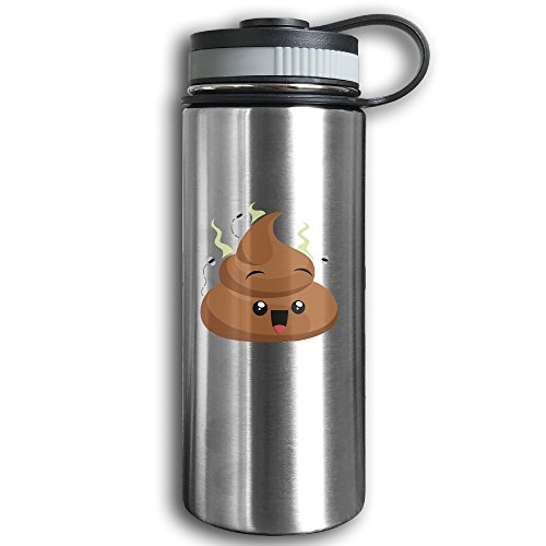 Stainless Steel Sports Water Bottle, Double Wall Vacuum Insulated Poop With Flys Emoji Water Thermos – Leak & Sweat Proof Flask - Cold/Hot Drinks For 12 (Halloween Printable Drink Labels)
