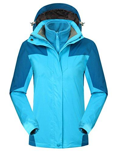 Blue Winter Coat Jacket (Mocotono Women's Waterproof Rain Jacket Fleece Snow Ski Winter Coat Blue Large)