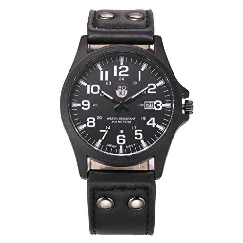 Hemlock Classic Sport Calendar Watches Quartz Dial Black PU Leather Band - Junior Dial Black Sport