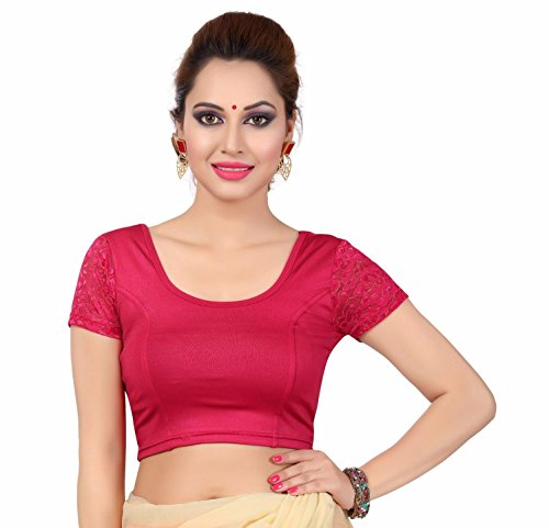 Magenta Short - TrendyFashionMall Magenta Short Lace Sleeve Lycra Stretchable Blouse Small(38)