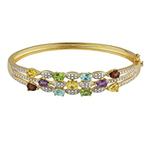 Yellow Gold Plated Sterling Silver Multi-Gemstone Bangle Bracelet from Amazon Curated Collection