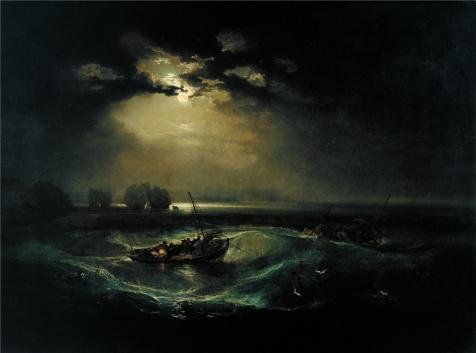'Joseph Mallord William Turner - Fishermen at Sea,1796' oil painting, 16x22 inch / 41x55 cm ,printed on Perfect effect Canvas ,this Beautiful Art Decorative Prints on Canvas is perfectly suitalbe (Costume Of Indian Fishermen)