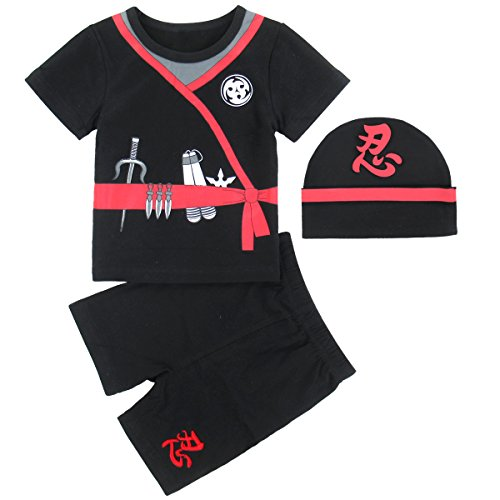 Mombebe Baby Boys' 3 Pieces Ninja Short Clothing Set with Hat (6-12 Months, (Three Ninjas Costumes)