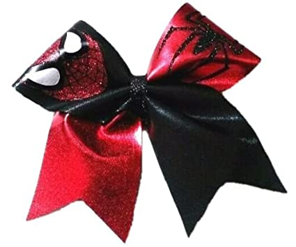 3468184b99d1 Amazon.com: Cheer Bows Red and Black Spider-Man Spiderman Spandex Hair Bow