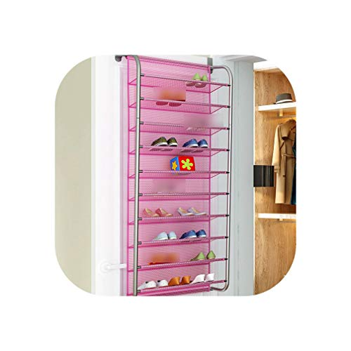 Cat Fat Rack - FAT BIG CAT 10-Layer Door Rear Shoe Rack Simple Wall-Mounted Shoe Cabinet Breathable-Type mesh Storage Shelves Living Room Furniture,xj7810-pink