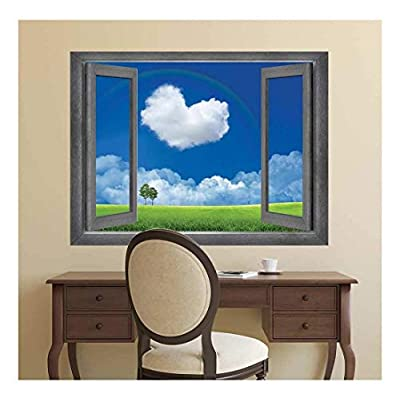 Made With Top Quality, Dazzling Technique, Open Window Creative Wall Decor Love is in The Clouds Wall Mural