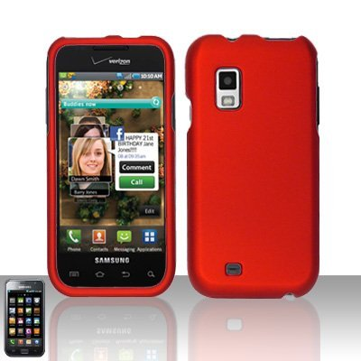 Premium Rubberized Crystal Snap-on Case Cover for Samsung Fascinate Verizon i500 - Red
